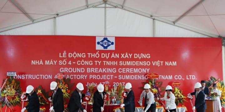 Công ty tổ chức lễ động thổ chuyên nghiệp tại Hải Dương | Lễ động thổ xây dựng nhà máy số 4 Sumidenso Việt Nam